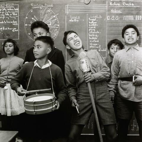 Ans Westra Students performing, Whatatutu Primary School, near Wairoa, 1963 Gelatin silver print, 277 x 276 mm Purchased 2012, Te Papa, O.039574