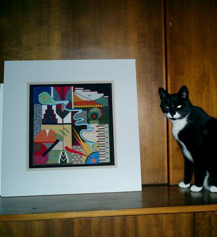 One of her Katy Corner's tapestries, with cat.