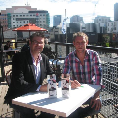 Artistic Director The Court Theatre Ross Gumbly and Hummingbird Coffee Nick Cowper together at the new opening.