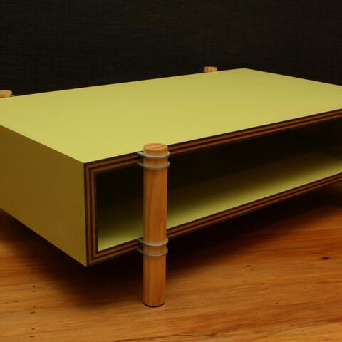Image: Kennedy Brown, Pacific Allsorts coffee table 2011. Laminated MDF/hardboard, organic pine, aluminium,  dimensions variable. Courtesy of the Artist.