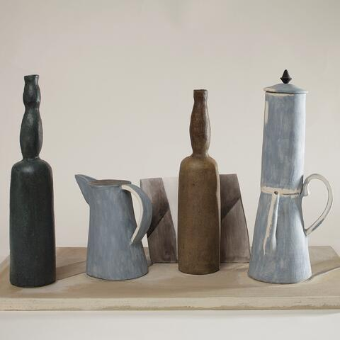 Image:  Ann Verdcourt, Detail of 1916 still life by Morandi, c.1980. Ceramic, slips and painted wood base. Collection of the Sarjeant Gallery. Photograph: Richard Wotton