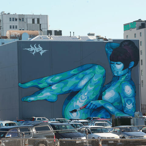 Art of Recovery: Blue lady by Sebastian Humphries on Calendar Girls, Christchurch.