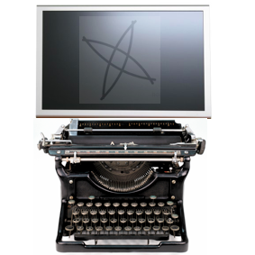 Old fashioned typewriter with screen and TBI logo