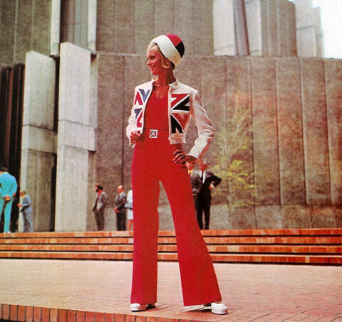 Associated fashion.  Jump suit designed by Jane Daniels.