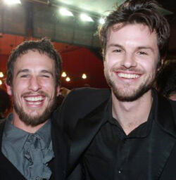 James (right) and producer Tom Hern.