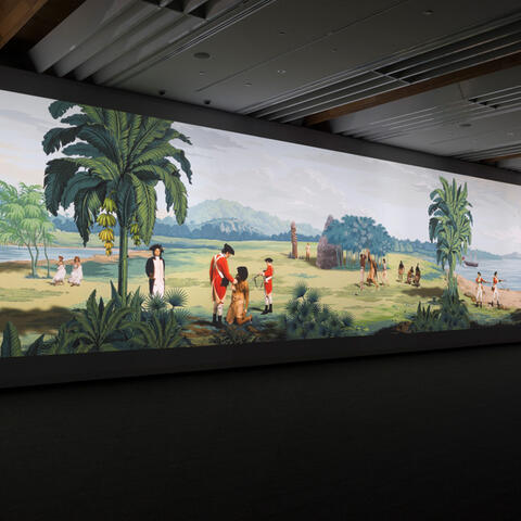 Lisa Reihana, in Pursuit of Venus [infected], installed shot, 2015, multi-channel video (still), Auckland Art Gallery Toi o Tāmaki, gift of the Patrons of Auckland Art Gallery