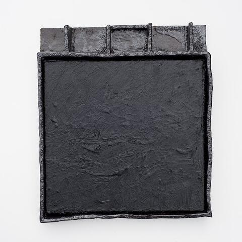 Jake Walker - Ohakuri Dam black, 2014/15 oil and acrylic on board ,glazed stoneware frame, 370 x 330mm