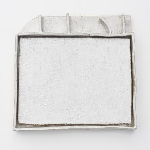 Jake Walker - Ohakuri Dam White, 2014/15 oil primer on jute, glazed stoneware frame, 370 x 390mm
