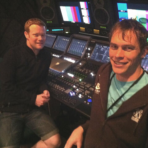 Audio engineers Steve Hartley and Patrick Duncan.