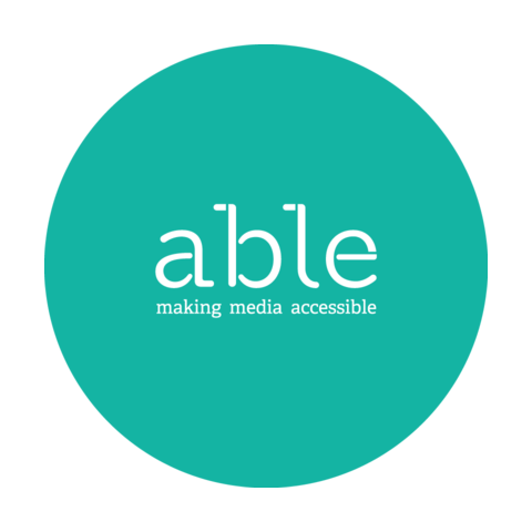 Green circle with text reading 'Able making media accessible'.