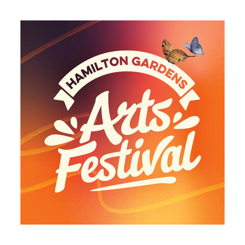 The festival logo - a banner, with the words Hamilton Gardens, is above the words arts festival, which are larger and in a more jaunty font.