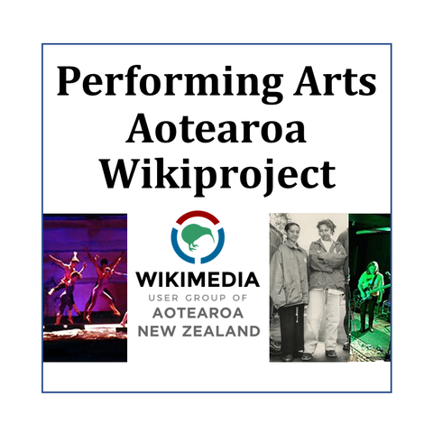 a logo of the Wikimedia Foundation Aotearoa User Group with images from performing arts and the words Performing Arts Aotearoa Wikiproject