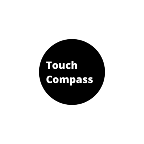 Image of Touch Compass circle logo. A black circle background encompasses the white Touch Compass logo text, centred and left