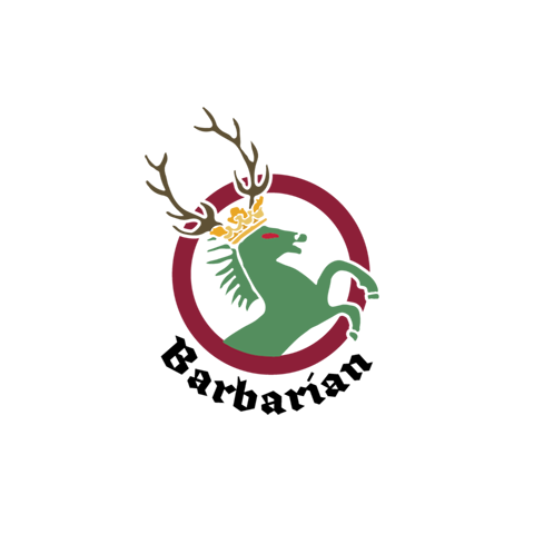 A green horse wearing a crown and reindeer antlers, rearing inside a crimson ring with the word 'Barbarian' beneath in gothic font