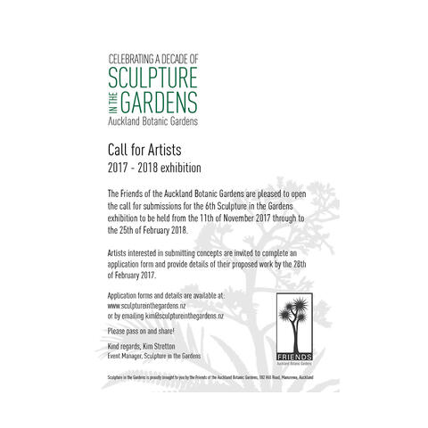 Sculpture in the Gardens is open for artists submissions, until February 28th 2017.