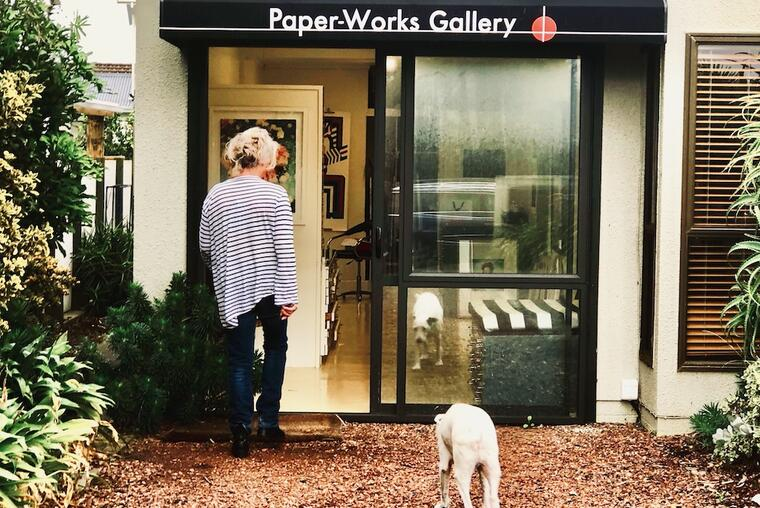 Annabel Sinclair-Thomson in front of Paper-Works Gallery