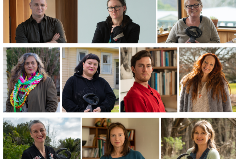 Arts Foundation 2019 Laureates - photos by Nan Sirisamphan. T-B, L-R: Kris Sowersby, val smith, Laurence Fernley, Sima Urale, Jessica Hansell aka Coco Solid, Solomon Mortimer, Pietra Brettkelly, Louise Potiki Bryant, Yvonne Todd, Ruth Paul.